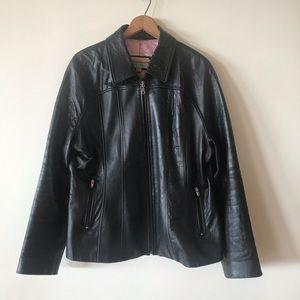 Pink Satin Lined Black 100% Leather Jacket XL